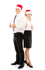 Happy business couple posing in Christmas hats isolated on white
