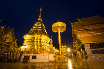 Phrathat doi suthep at night, Chiangmai, Thailand