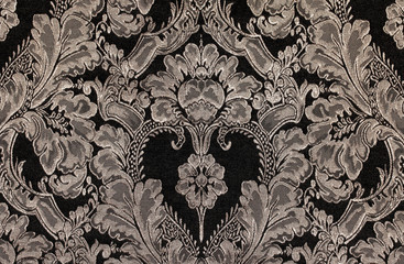 brown vintage fabric with damask pattern as background
