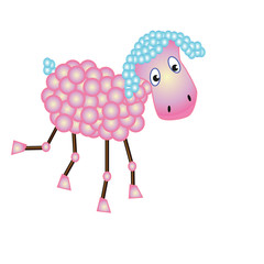Fun pink sheep with blue lugs