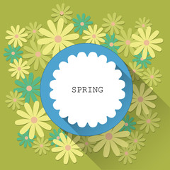 Abstract spring card background with paper flowers