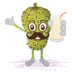 soursop fruit mustache cartoon