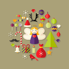 Christmas Flat Icons Set Over Light Brown