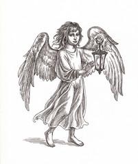 """Рисунок из серии """"Рождественские ангелы"""". Вариант 2."""