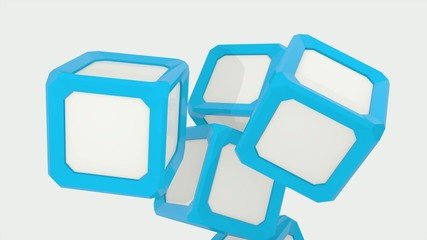 3D ANIMATED WHITE AND BLUE CUBES