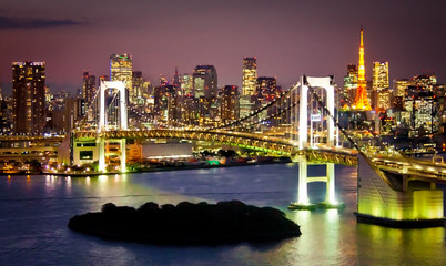 Rainbow Bridge and Sumida River in Tokyo, Japan.