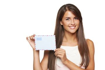 Woman showing blank envelope