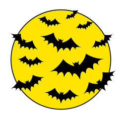 Flying Bats in Moon Light Background