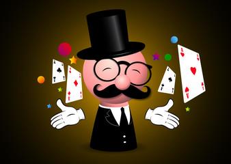 mago, prestigiatore, magia, carte, spettacolo