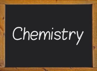 Chemistry written on a blackboard