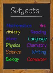 Subjects written on a blackboard