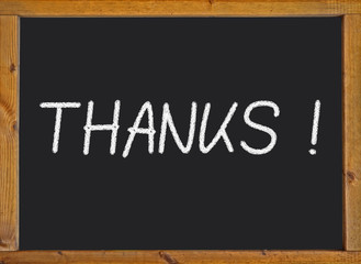 Thanks written on a blackboard
