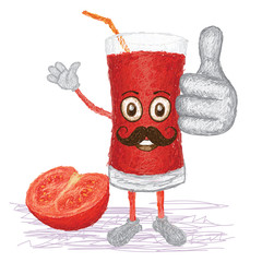 tomato juice mustache cartoon