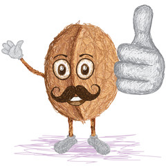 walnut mustache cartoon