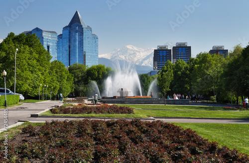 Fotobehang Fontaine Fountain on Republic Square in Almaty, Kazakhstan