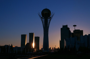 View of Astana modern city at sunset