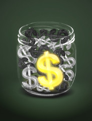 Dollar sign in glass jar,business concept