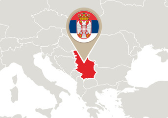 Serbia on Europe map