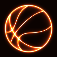 glowing basketball ball