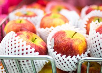 many kind of apple at shelf  in supermarket