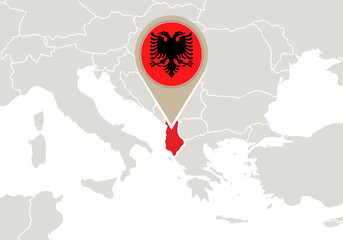 Albania on Europe map