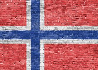 Norwegian flag over wall