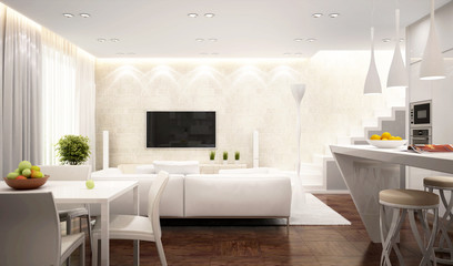 Modern white interior in house