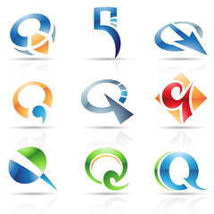 Glossy Icons for letter Q