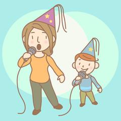 Karaoke mom boy illustration