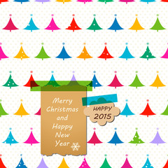 greetings notes on a christmas trees seamless pattern