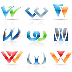 Glossy Icons for letter W