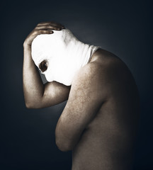Head tied up by bandage . Conceptual photo