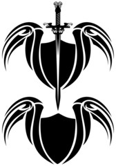 winged shield and sword