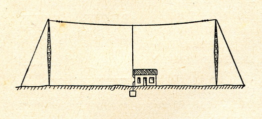 T-shaped transmitting aerial