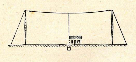 T-shaped transmitting aerial