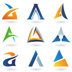 Abstract icons for letter A