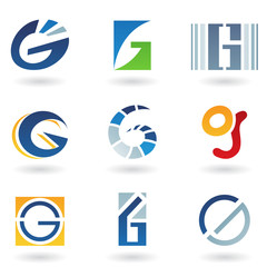Abstract icons for letter G