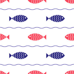 Seamless nautical pattern with fish and waves.