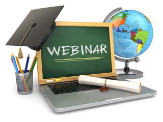 Webinar education concept. Laptop with blackboard, mortar board
