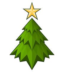 Green triangle Christmas tree, vector illustration