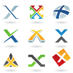 Abstract icons for letter X