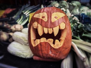 jack-o-lantern halloween pumkin at food market