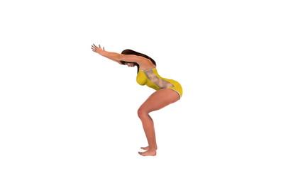 Slim healthy woman doing yoga Chair Pose