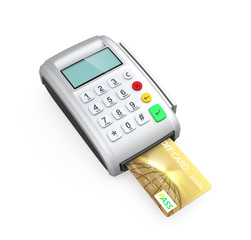 Credit card inserted into a silver card-reader
