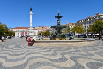 Rossio Platz, Säule, Nationaltheater, Portugal, Lissabon