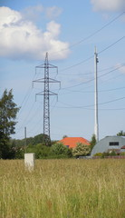 Meadow and electricity pylon