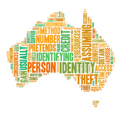 Identity theft concept with tag cloud