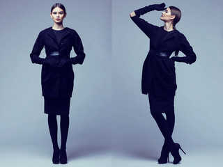 two images of elegant woman in black coat. Studio shot