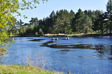 Kayaking in spring the river.