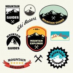 Mountain labels set.  Ski Resort logo and icon collection.